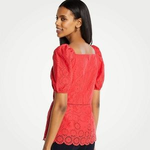 Ann Taylor Eyelet Square Neck Peplum Top Blouse